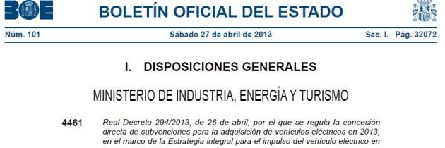 Se aprueban las ayudas a la adquisición de vehículos eléctricos para 2013